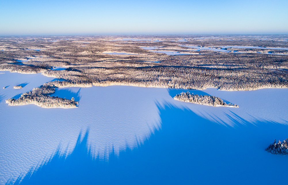 Boundary Waters Canoe Area in winter from above
