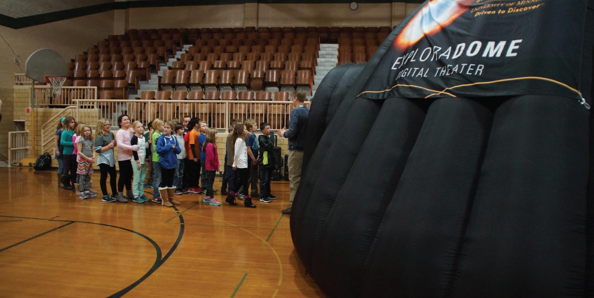 Students lined up outside the ExploraDome
