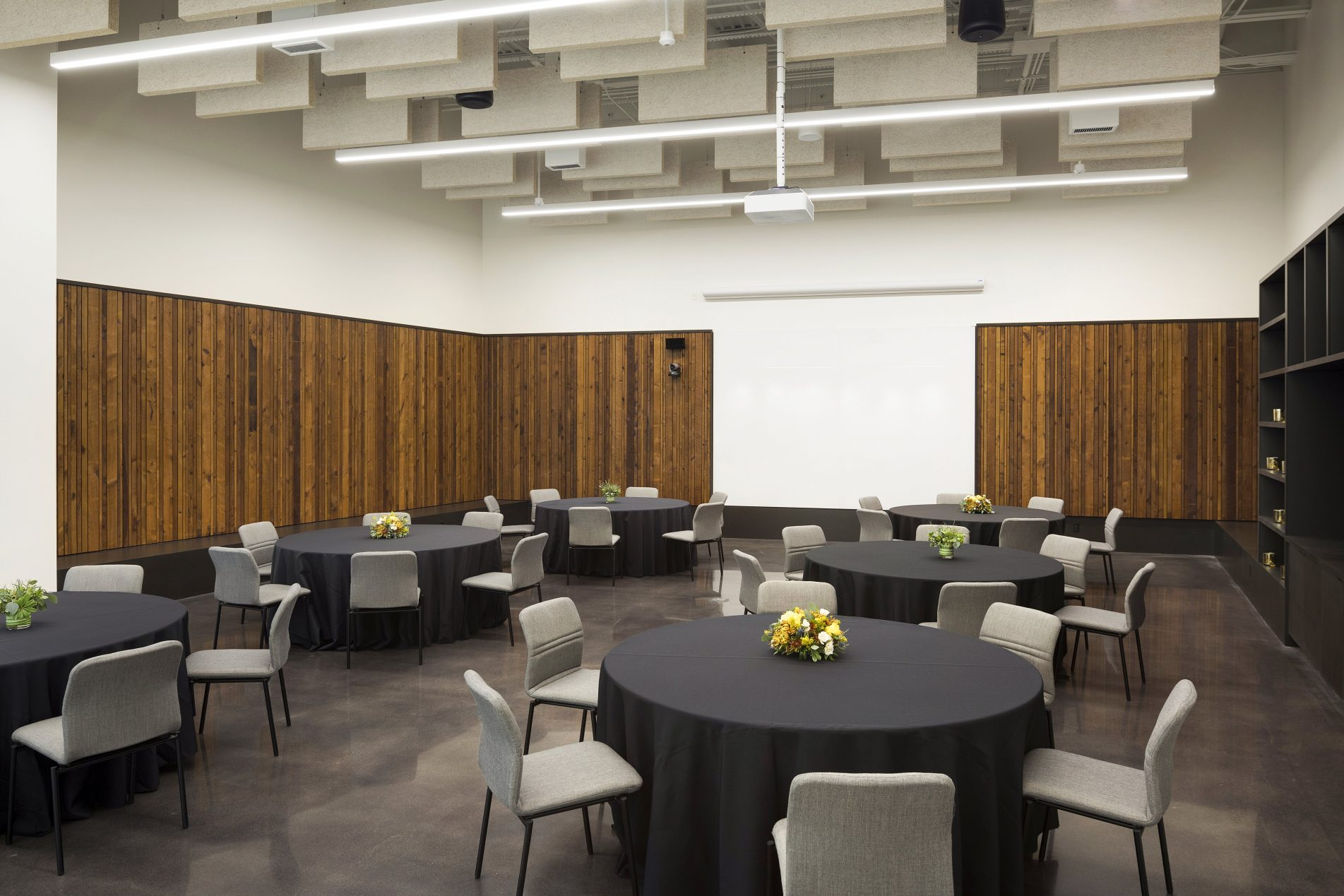 The Nucleus room at the Bell Museum, set up for luncheon seating with round tables
