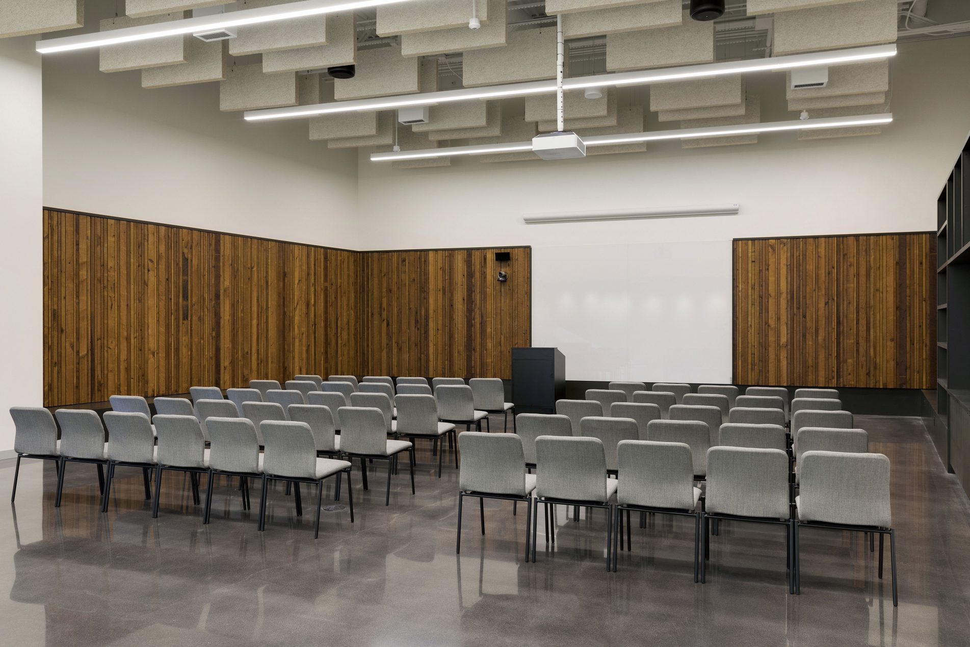 The Nucleus room at the Bell Museum, set up with theater style seating