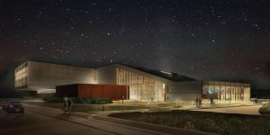 A nighttime view of the new Bell Building with a starry sky above