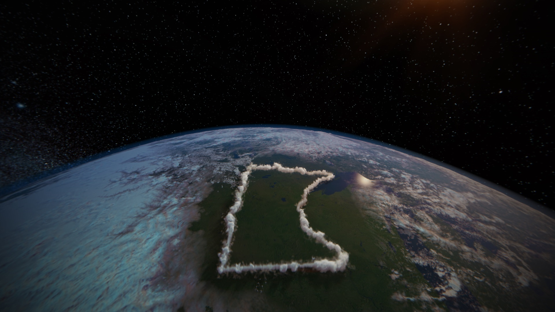 Image of MN State shape outlined on the earth from outer space