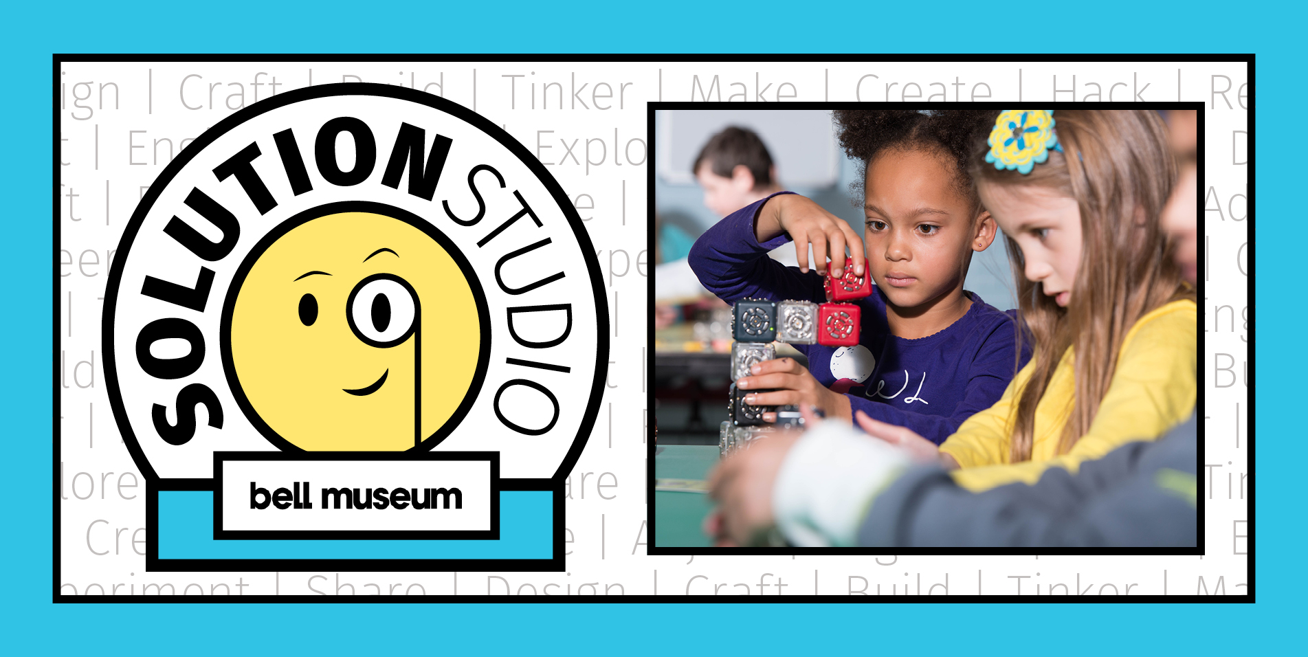 Solutions Studio icon with a smily ace looking through a magnifying glass next to a small child playing with technology