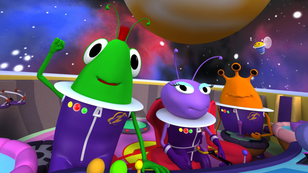 still from Zula cartoon with aliens in their space ship