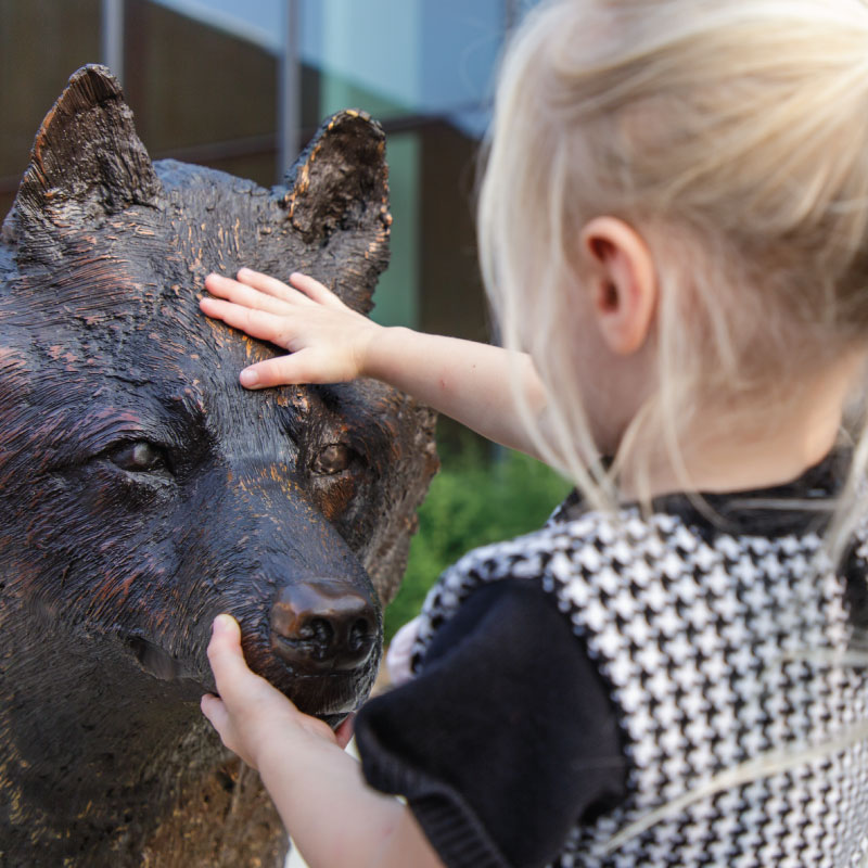 Child petting a wolf scuplture