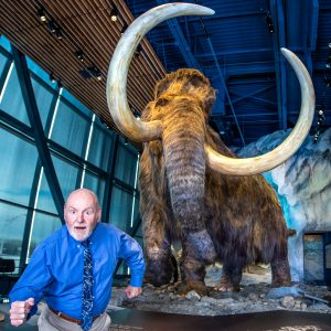 Parke Kunkle pictured with a woolly mammoth
