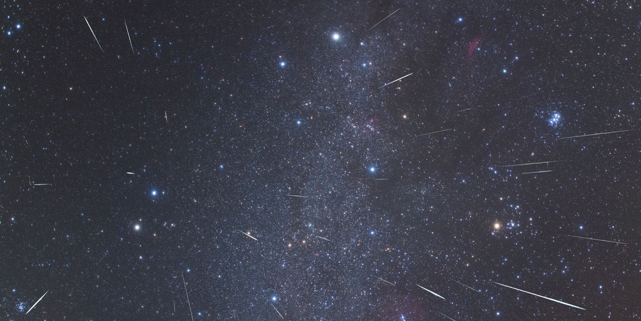Geminids in the northern sky taken during the 2017 meteor shower.