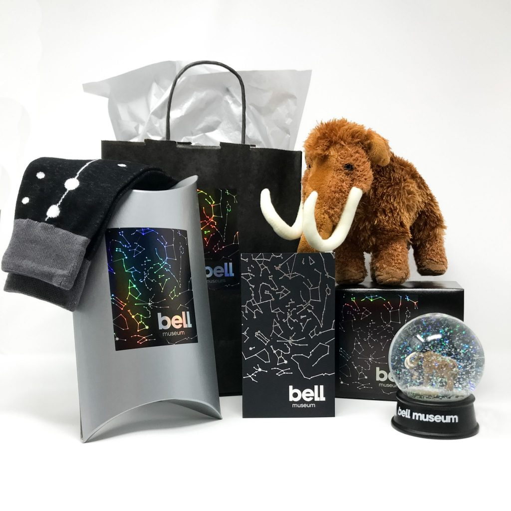 Bell Museum gift membership bonus gifts (plush mammoth, Bell constellation socks, and woolly mammoth snowglobe)