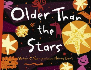 """Cover illustration from children's book """"Older Than the Stars,"""" featuring bold yellow and orange stars on a black background, with maroon images representing constellations"""