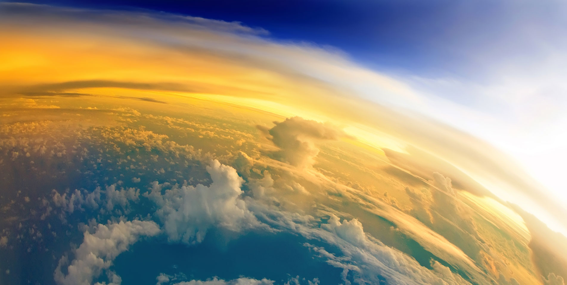 Aerial view of Earth from space, cloudscape and stratosphere from above