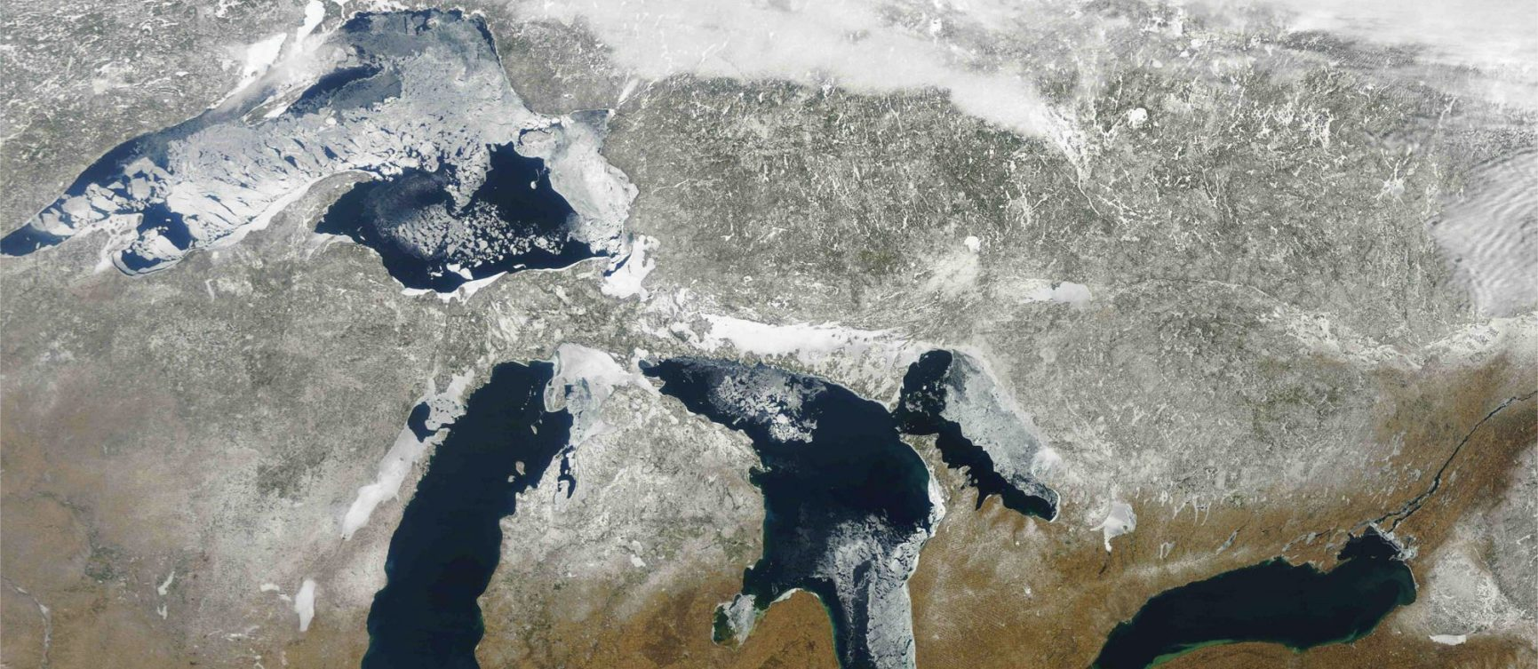 Satellite image of North America's Great Lakes