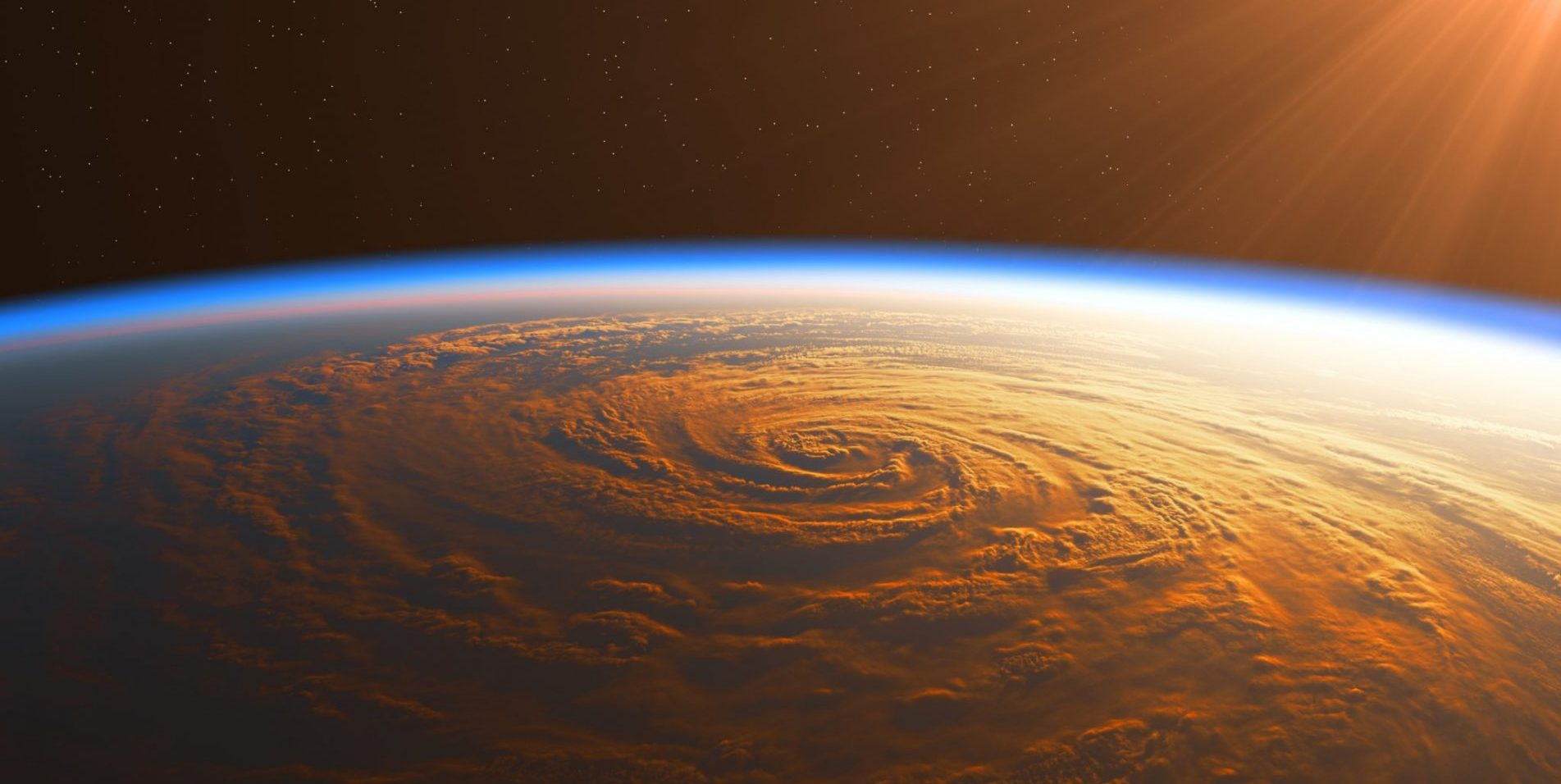 Hurricane as seen from space lit by the Sun