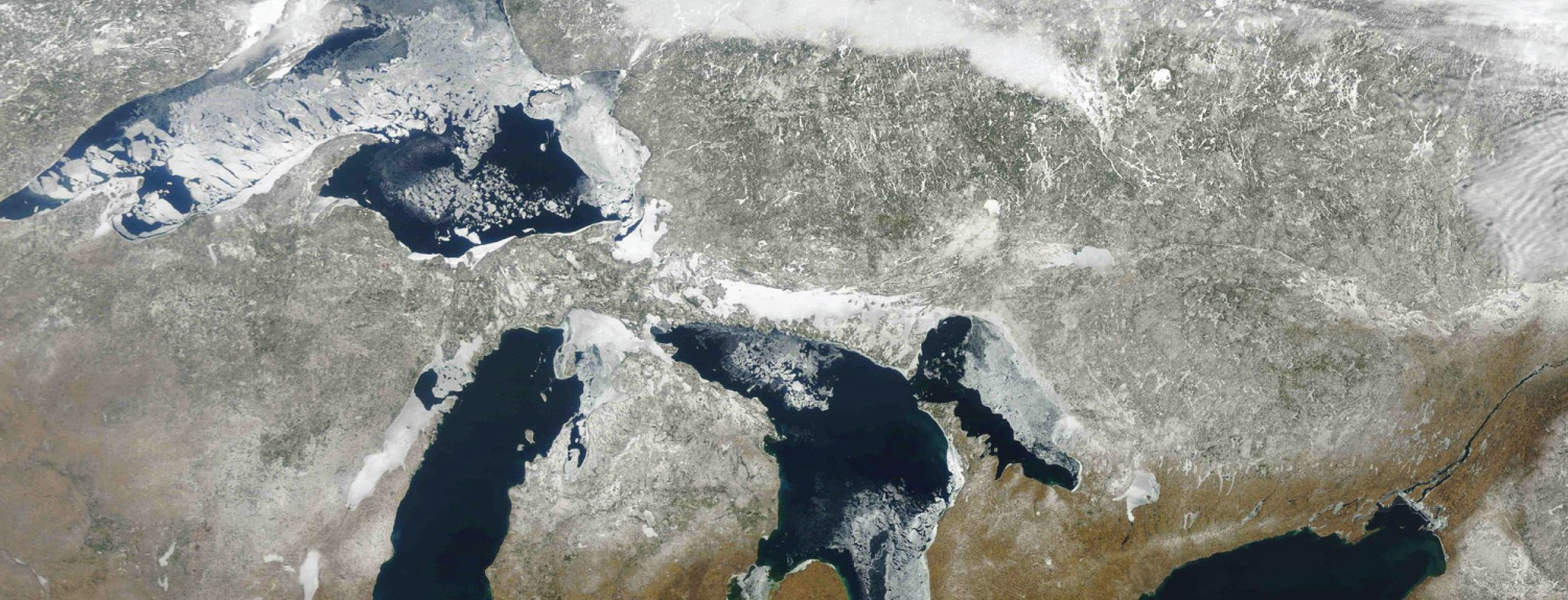 Satellite image of North America's Great Lakes.