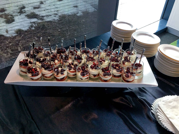 Close up of dessert tray on buffet table