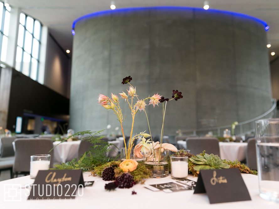 Wedding party table set up in Horizon Hall with plant-based centerpiece