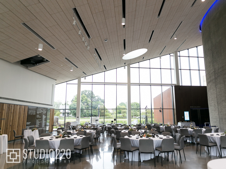 Horizon Hall set up with round tables for a wedding reception