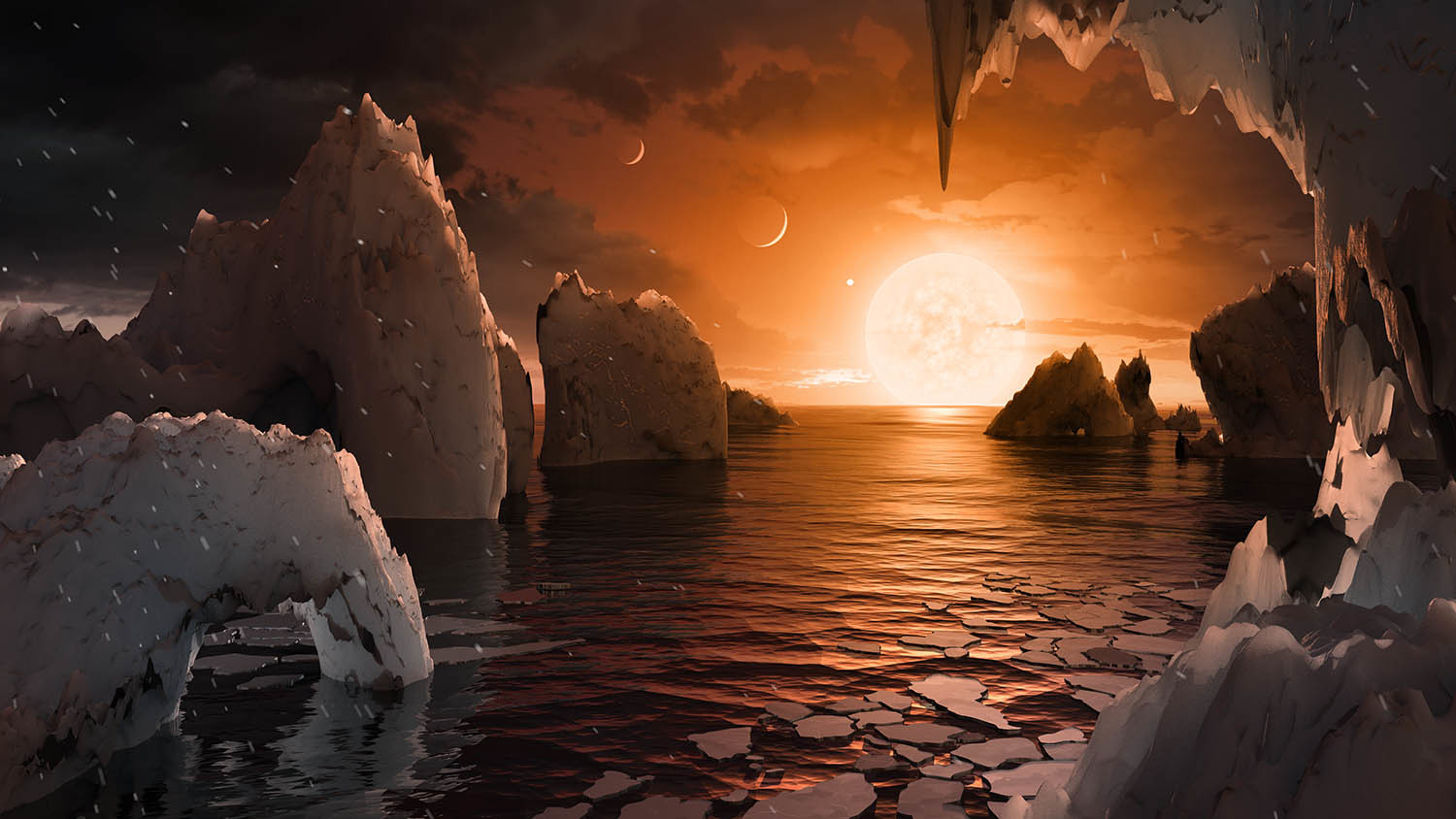 Concept art showing water on exoplanet TRAPPIST-1f