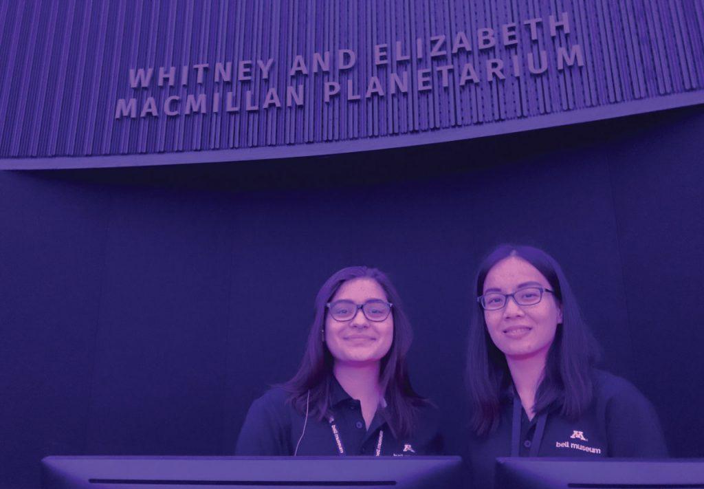 Schmidt and Samphea inside the planetarium