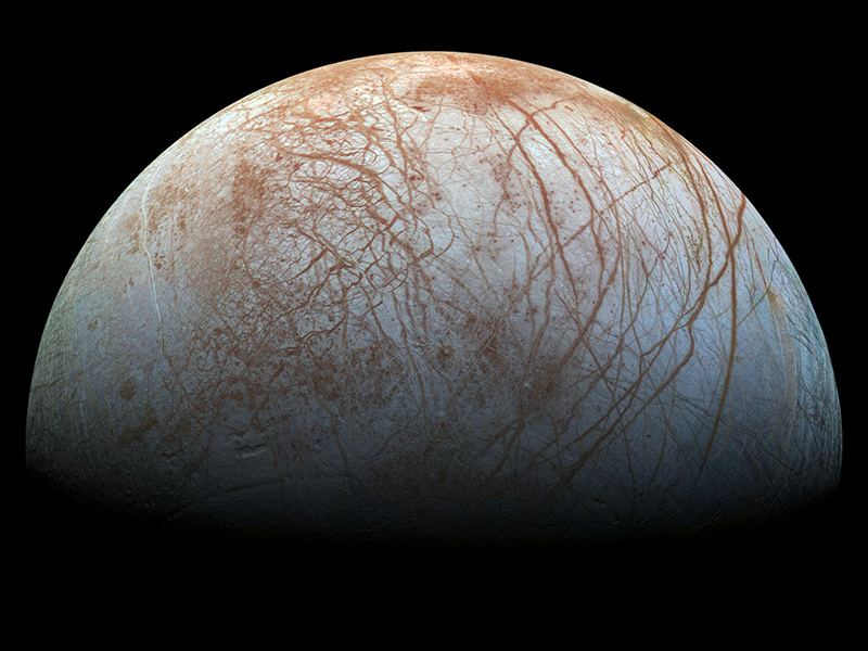 Jupiter's moon Europa's icy surface