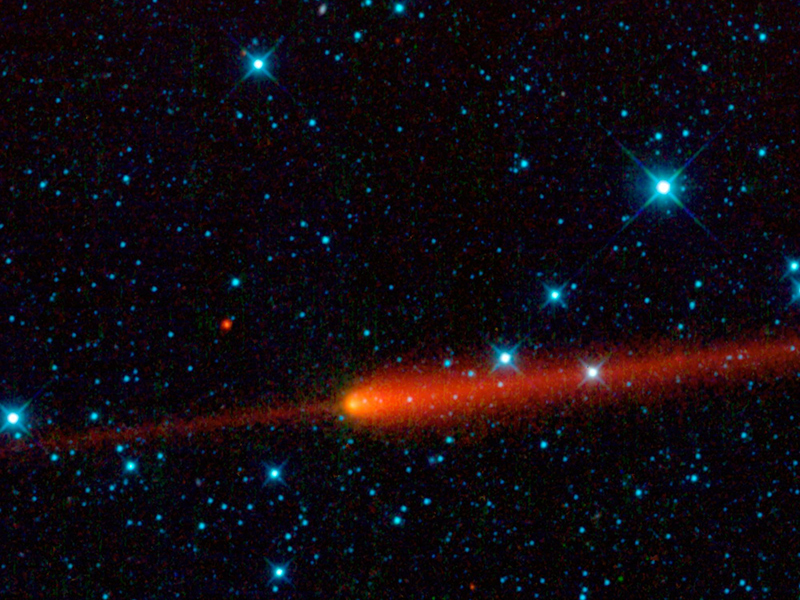 A comet streaking through space