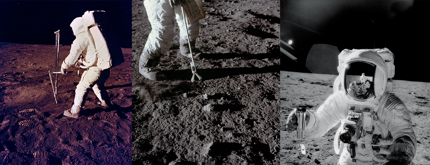 Three photos from Apollo missions gathering lunar samples