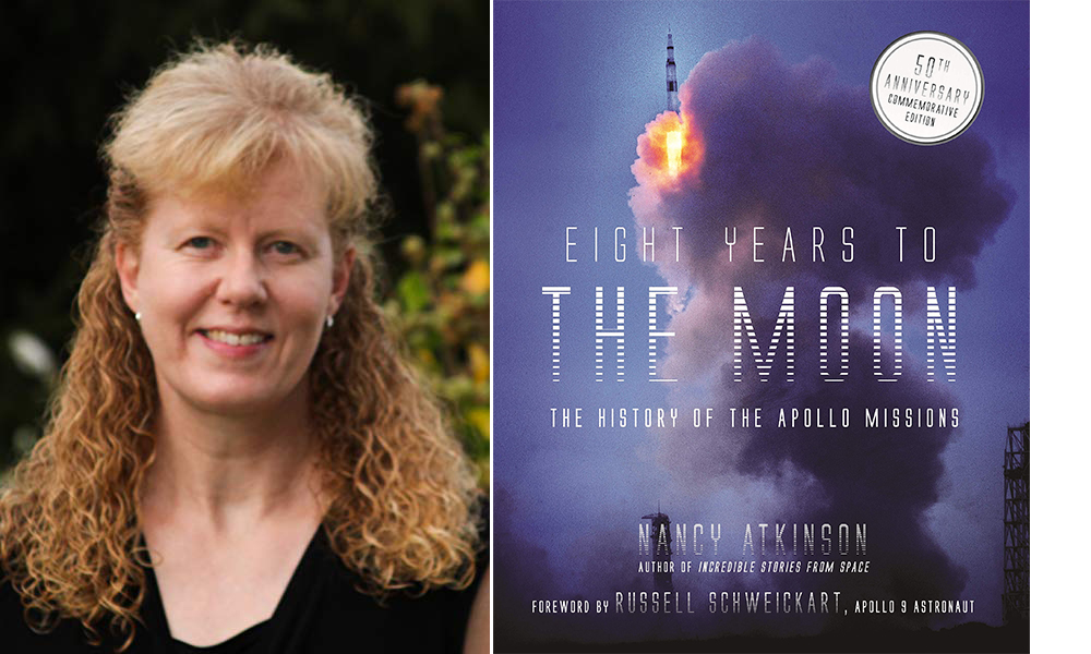 Author Nancy Atkinson and her book, Eight Years to the Moon