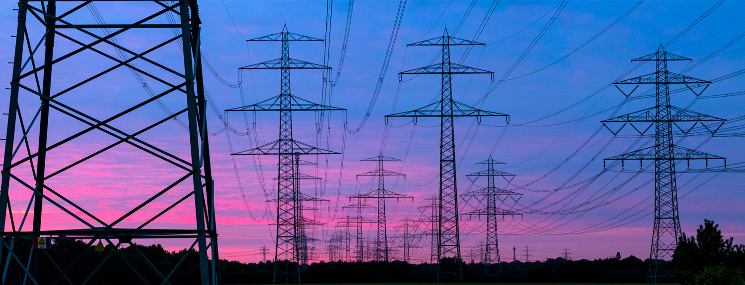 Rows of electricity pylons silhouetted in front of a blue and pink sky
