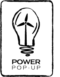 Power Pop Up logo with windmill in the center of a light bulb