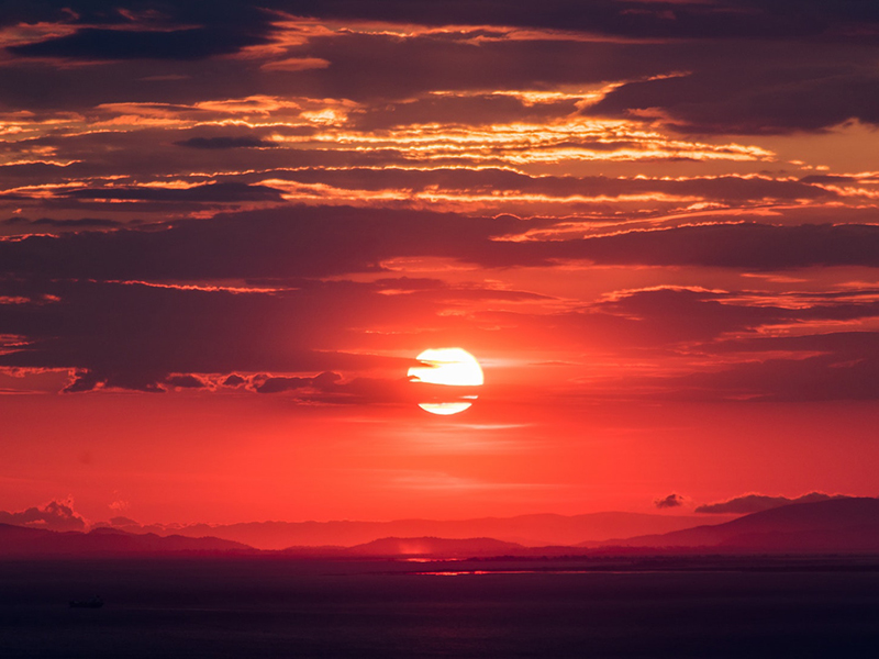 A bright scarlet sunset