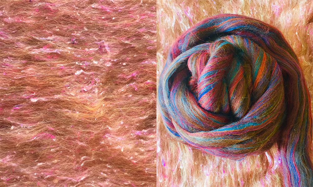 Wool roving and completed yarn