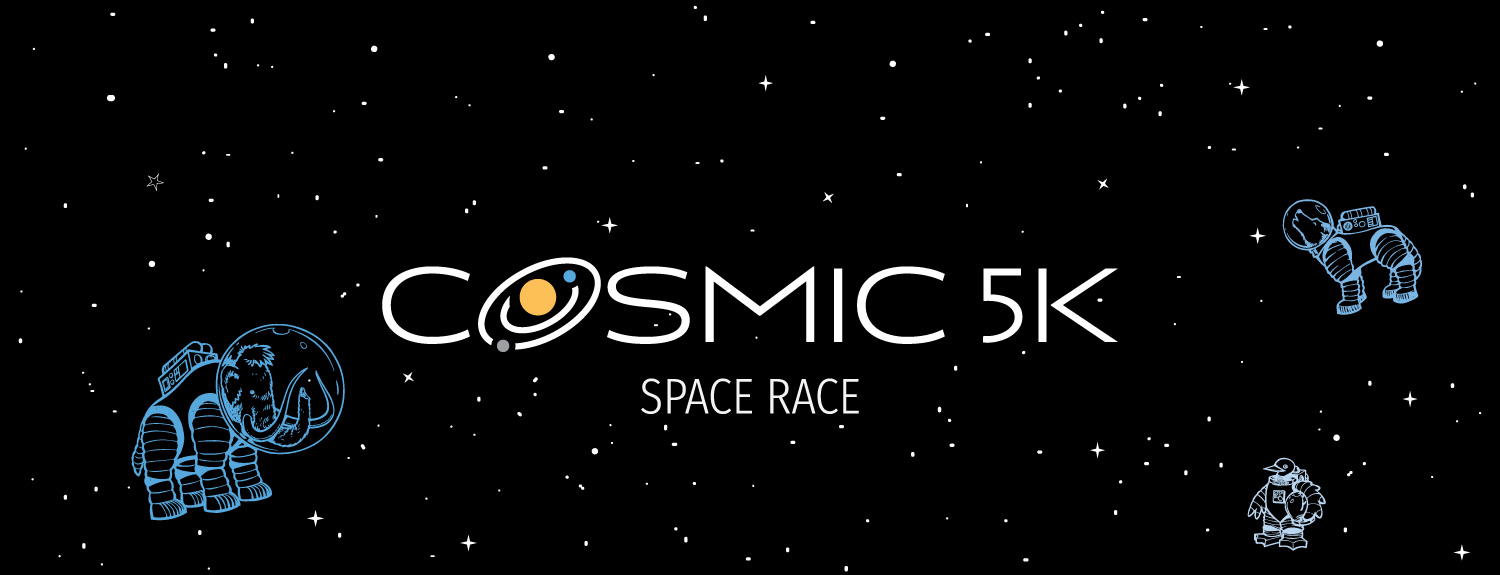 Cosmic 5K Banner Graphic with white stars and illustrations of animals in space suits.