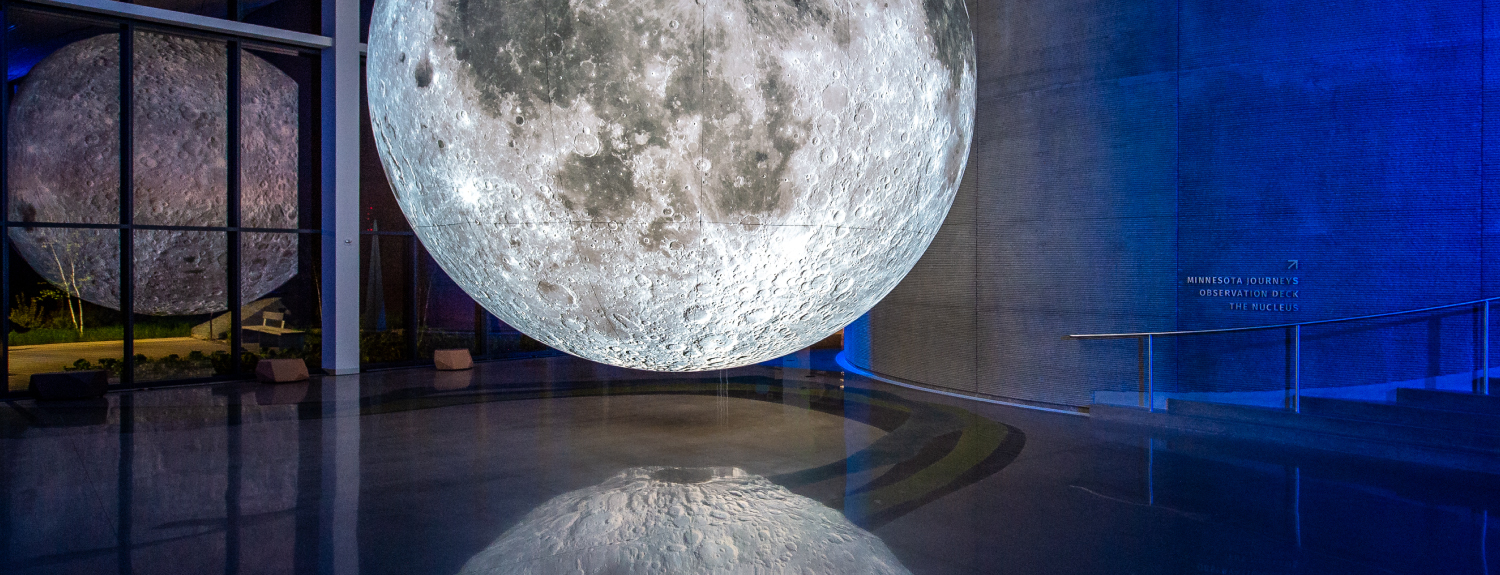 Moon sculpture hanging in Horizon Hall