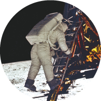 Buzz Aldrin steps down onto the surface of the Moon