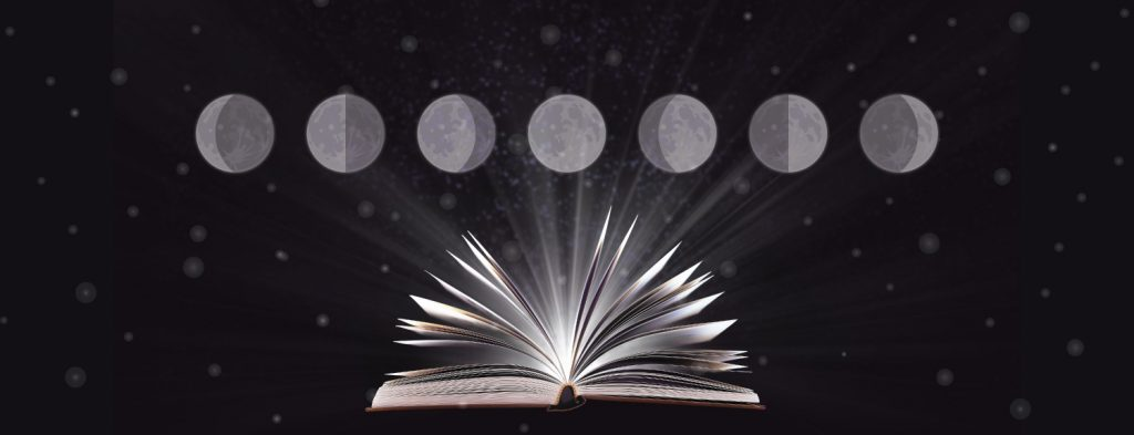 Illustration od moon phases above an open book.