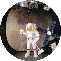 Detail of a homemade space diorama with astronaut