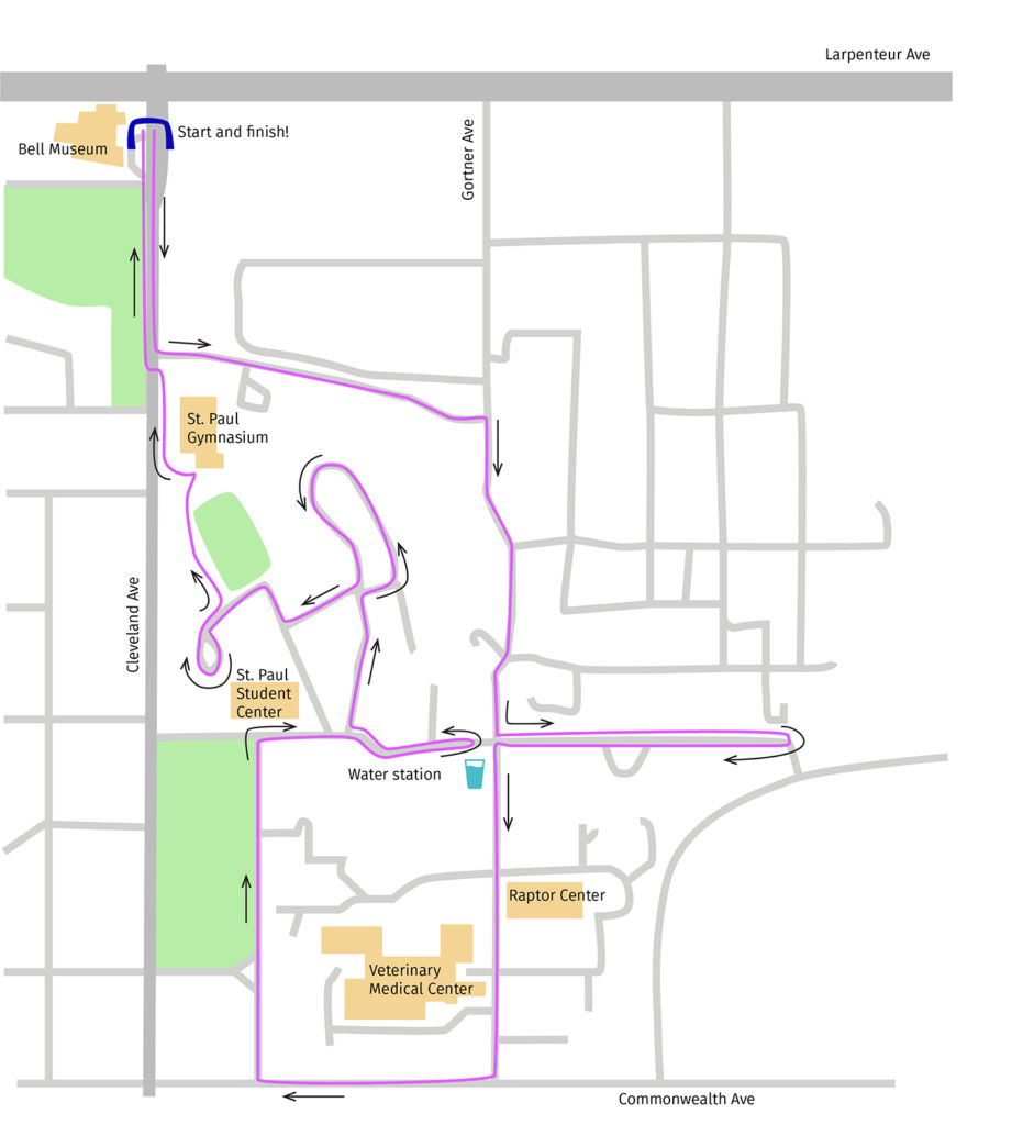 Planned route of the Bell's Cosmic 5K through the St. Paul campus
