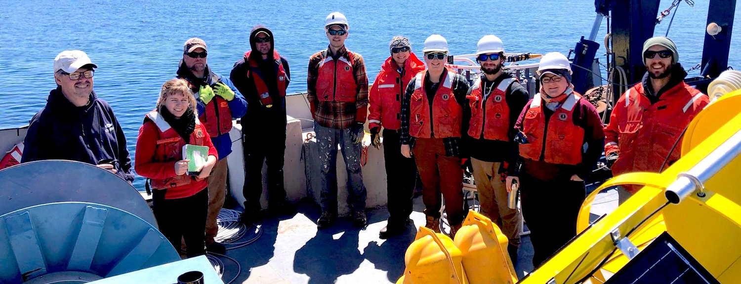 The 10-person crew that assembled an enormous horizontal mooring to gather data about convective cells in Lake Superior