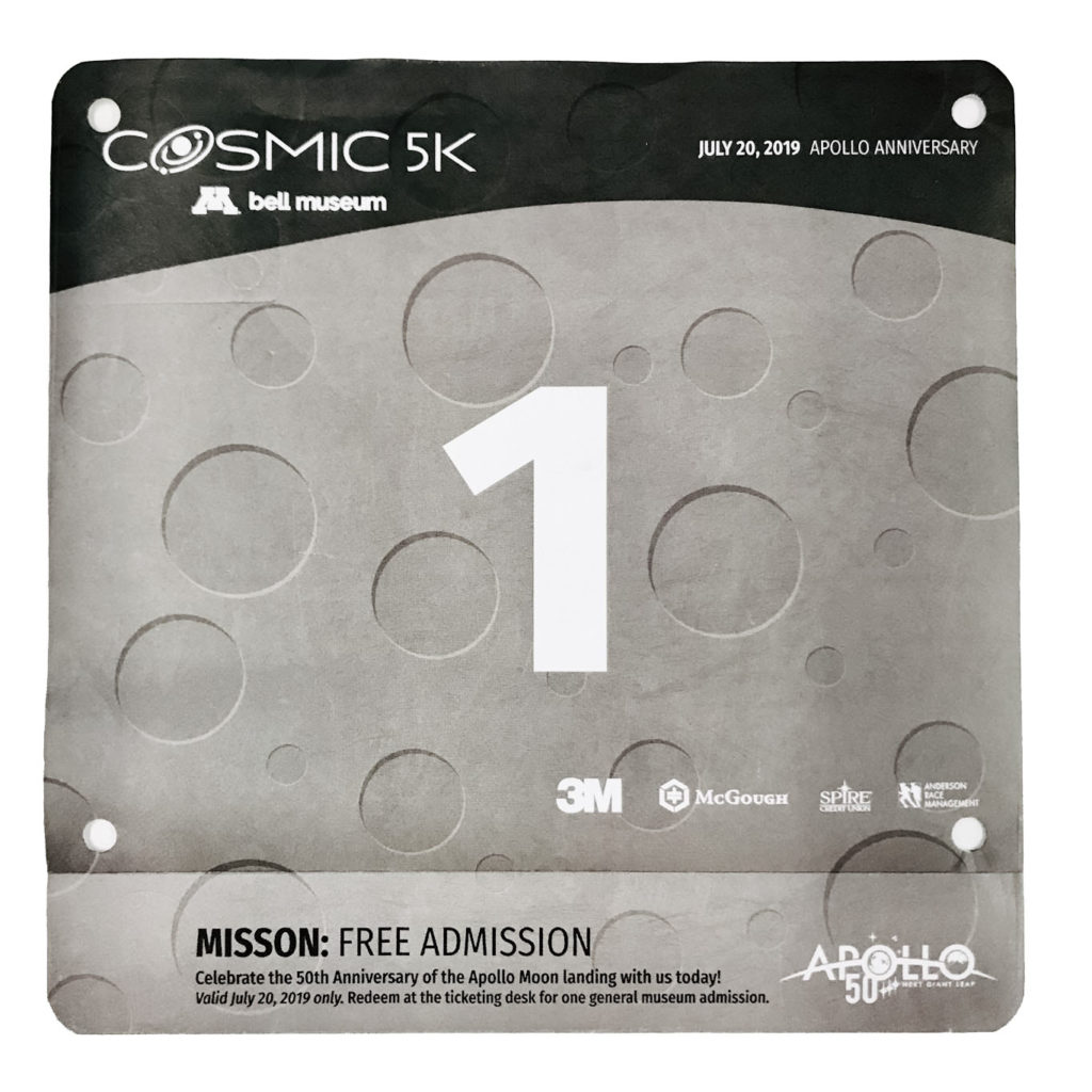 Race bib with lunar surface background