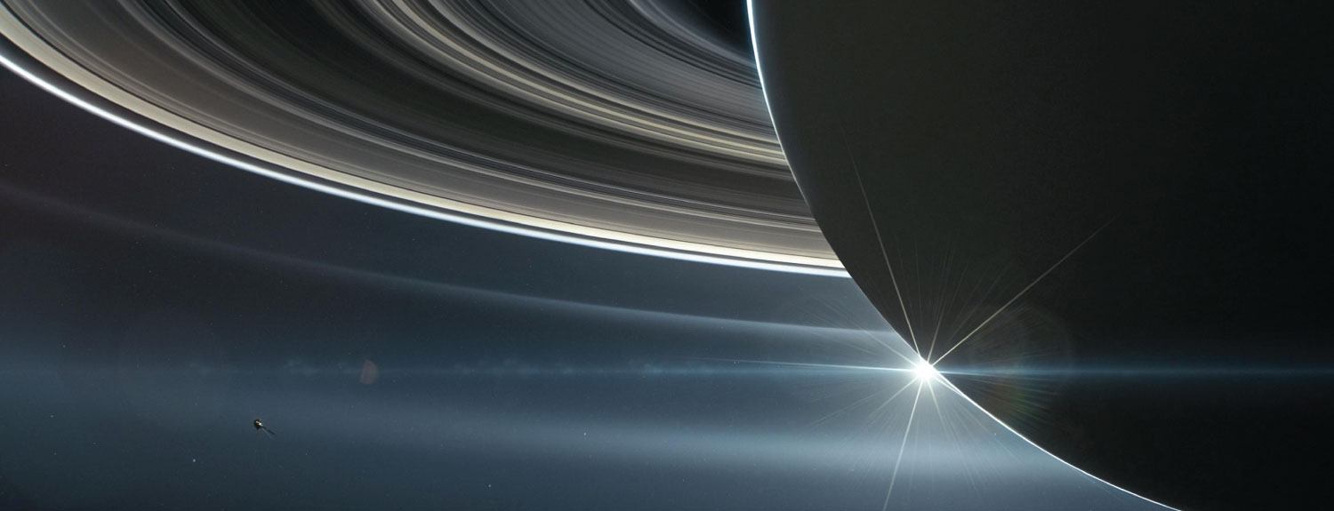Illustration of Cassini orbiting Saturn