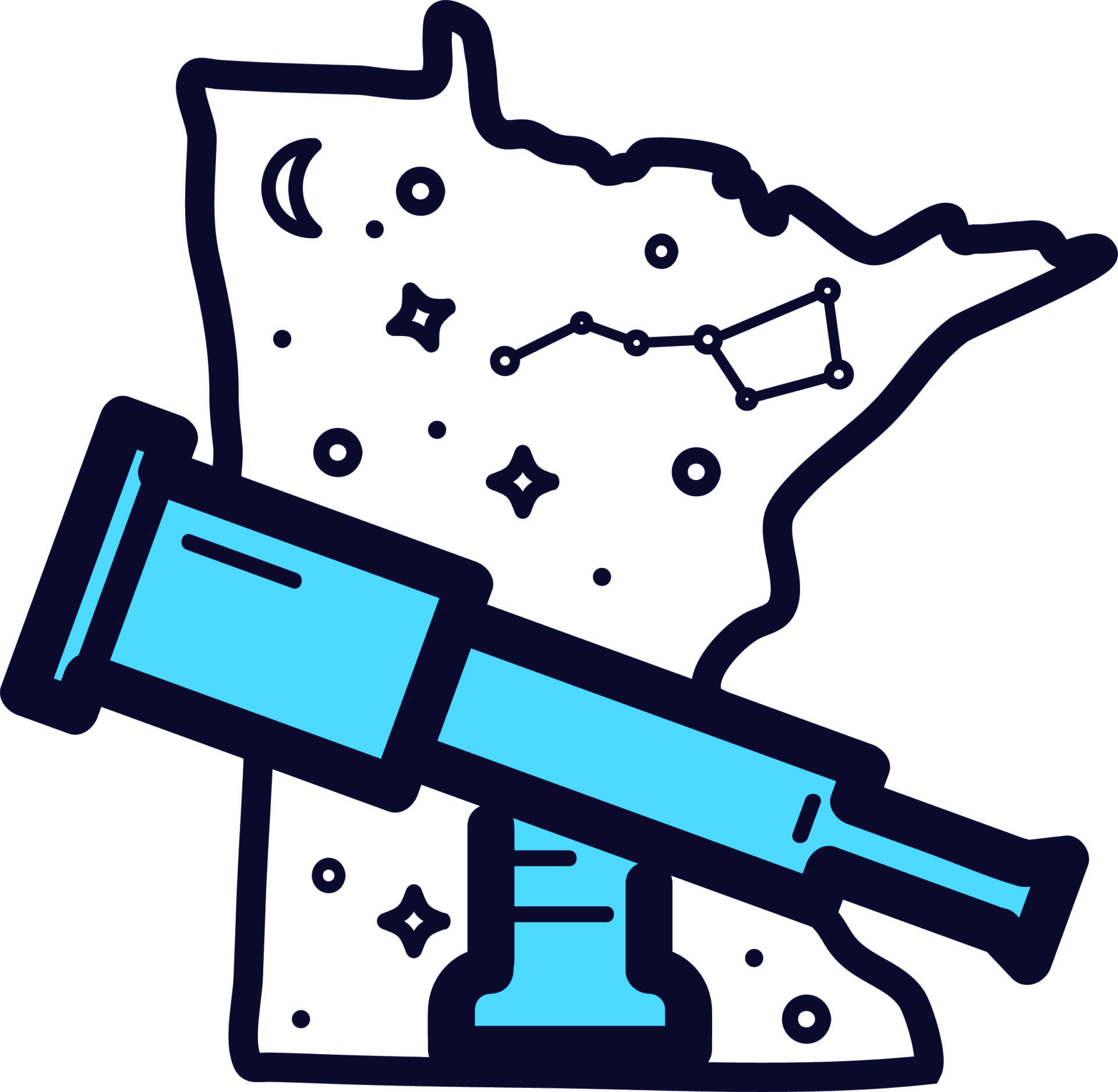 Outline of Minnesota with stars, moons, and telescope icons