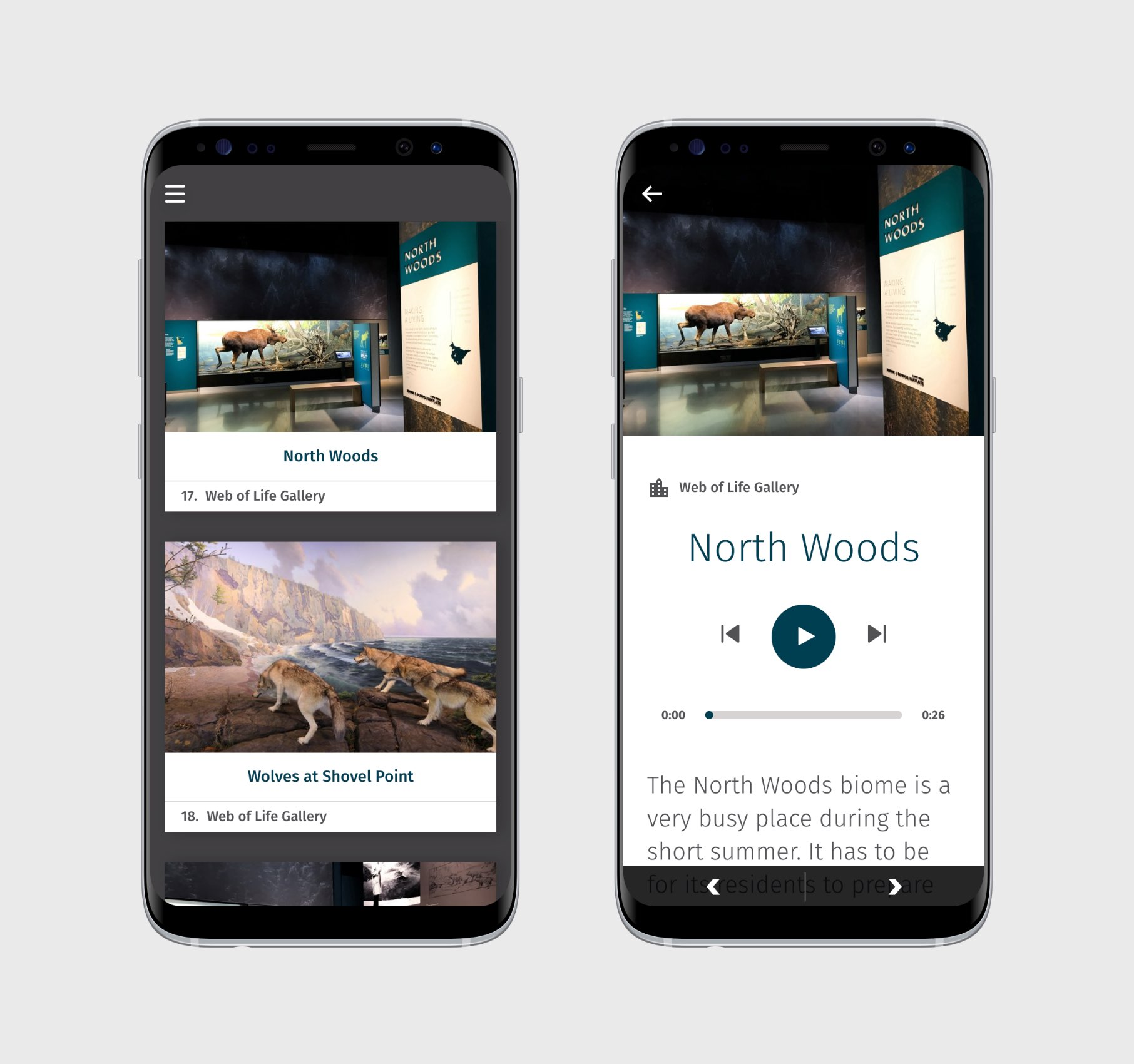 App preview on smartphone: North Woods gallery