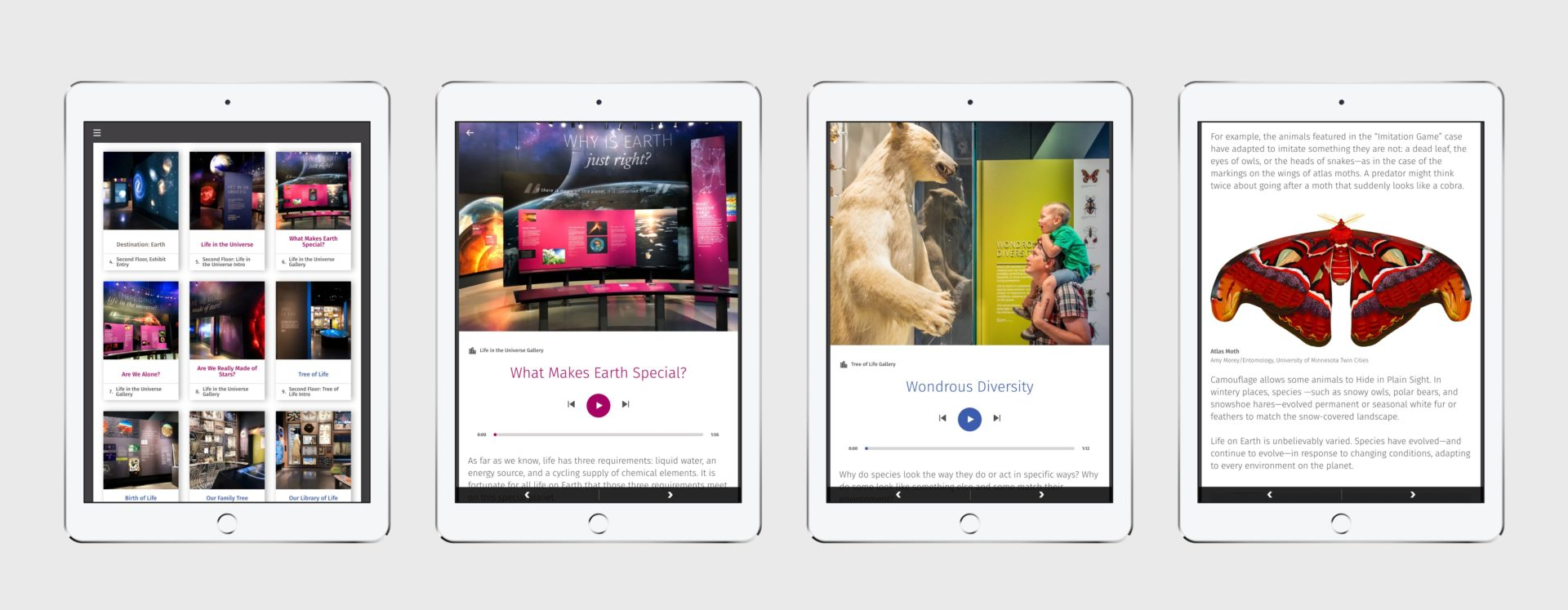 App preview on tablet with colorful photos