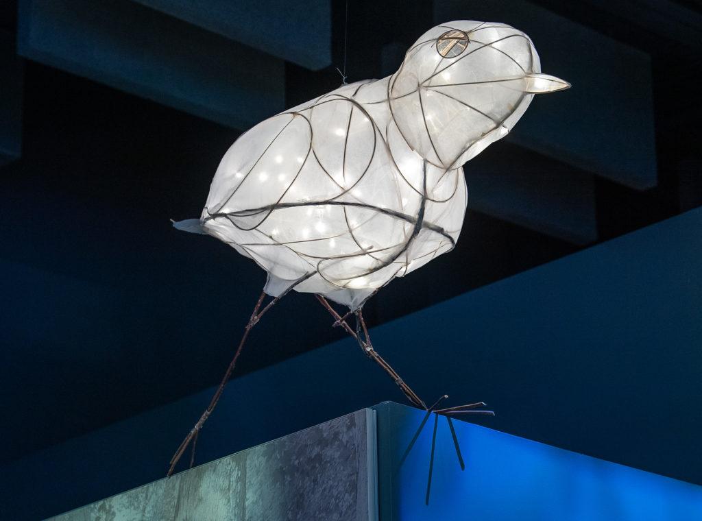 Lantern sculpture of the piping plover bird