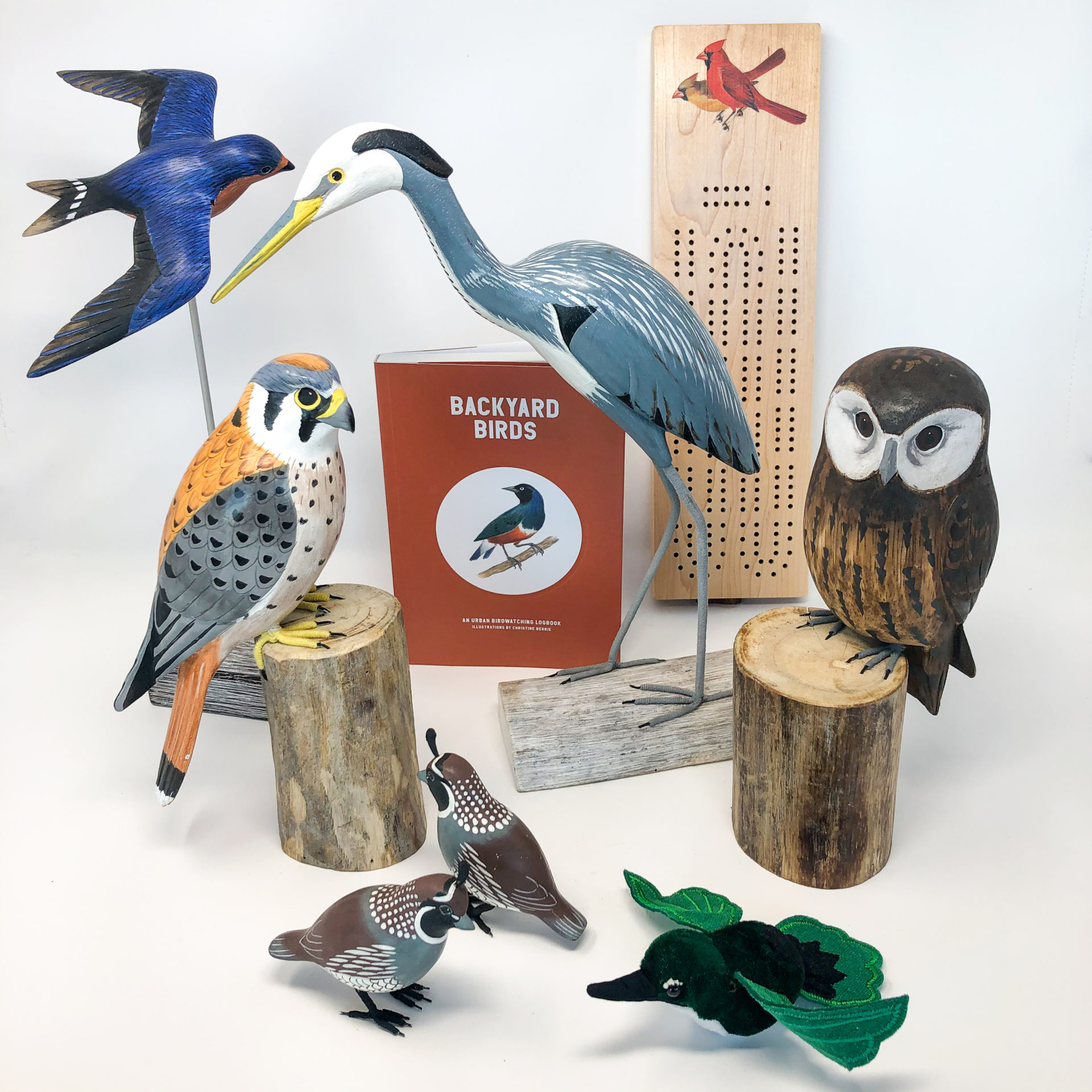 A group of bird-themed gifts