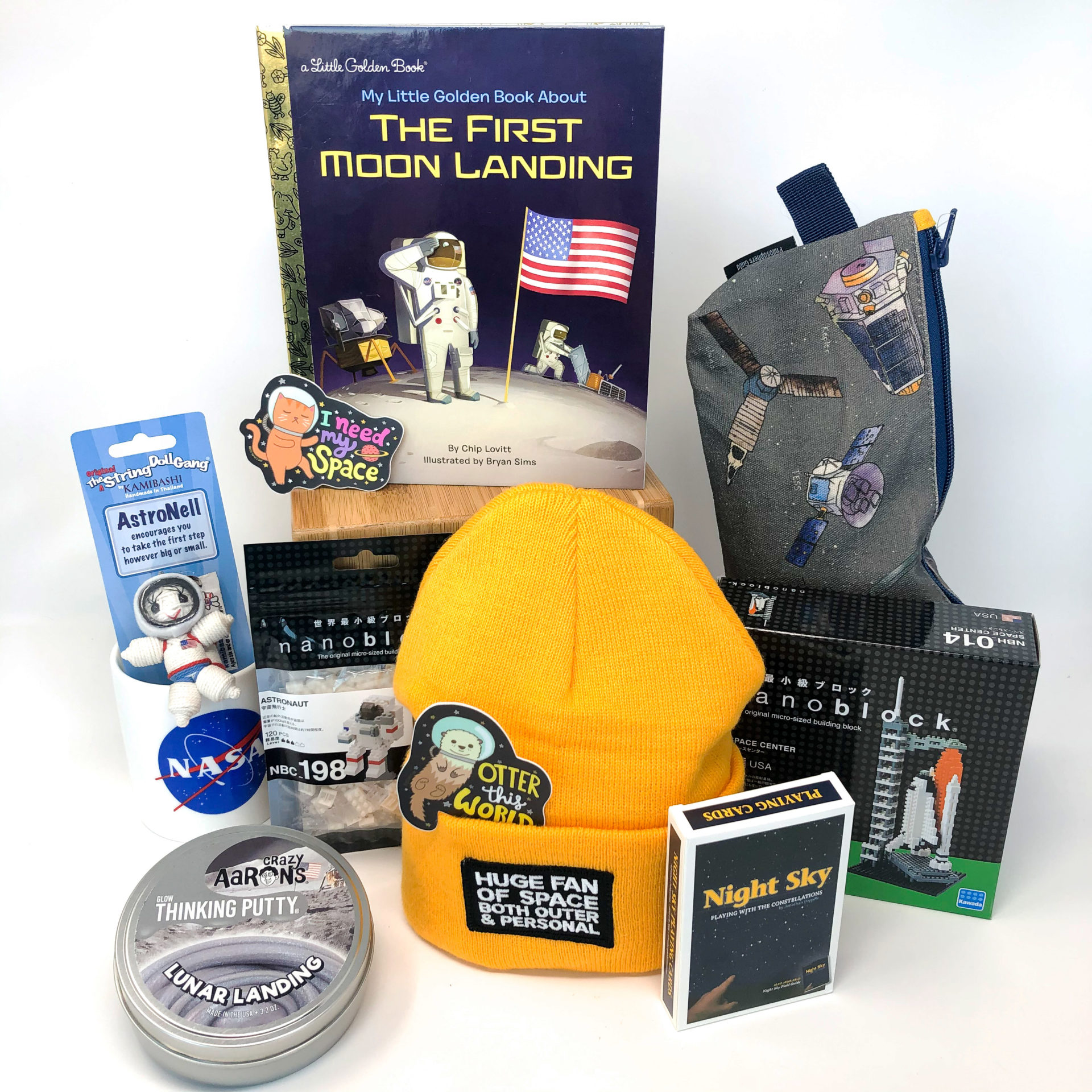 A gathering of space-related gifts