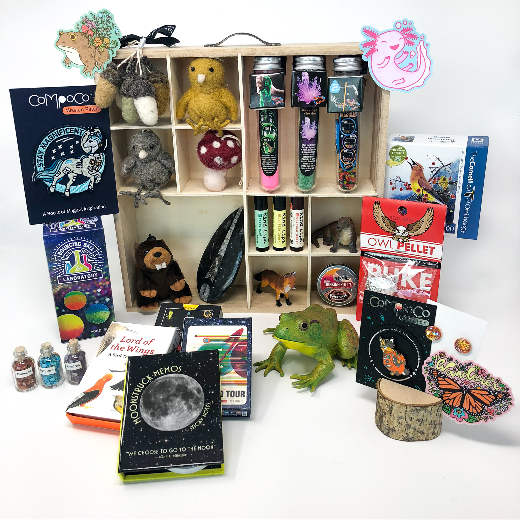 An assortment of stocking stufers or secret santa gifts