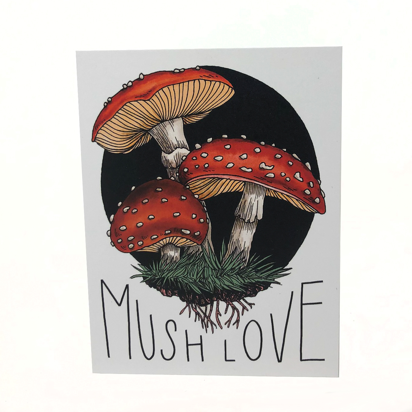 Greeting card showing red mushrooms; reads