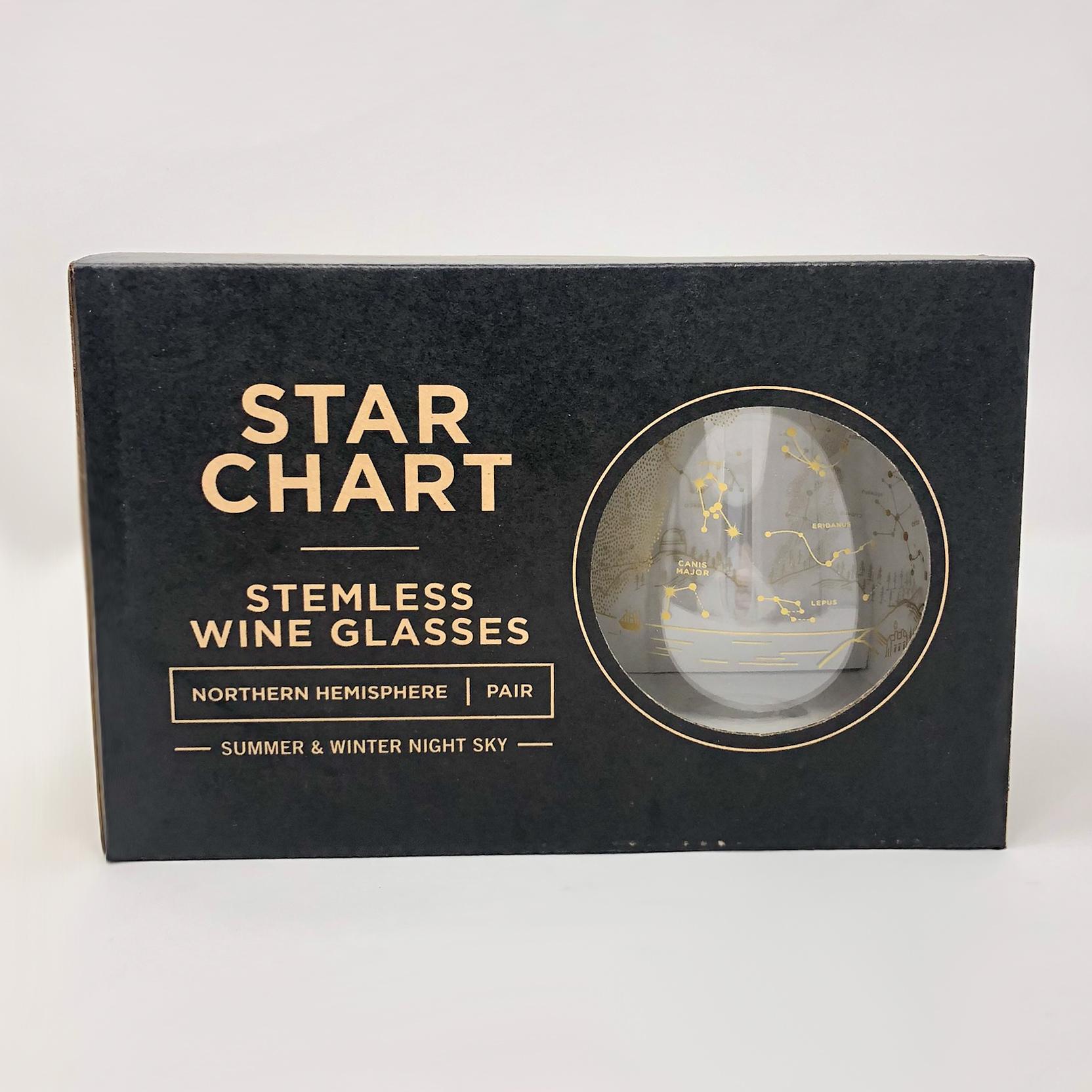 Star chart stemless wineglass set