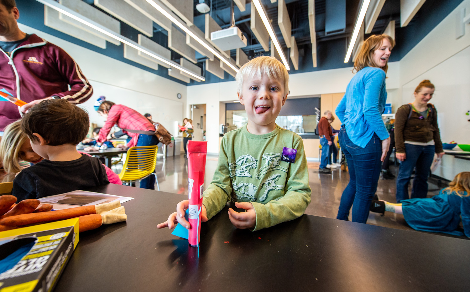 Young visitor builds stomp rockets