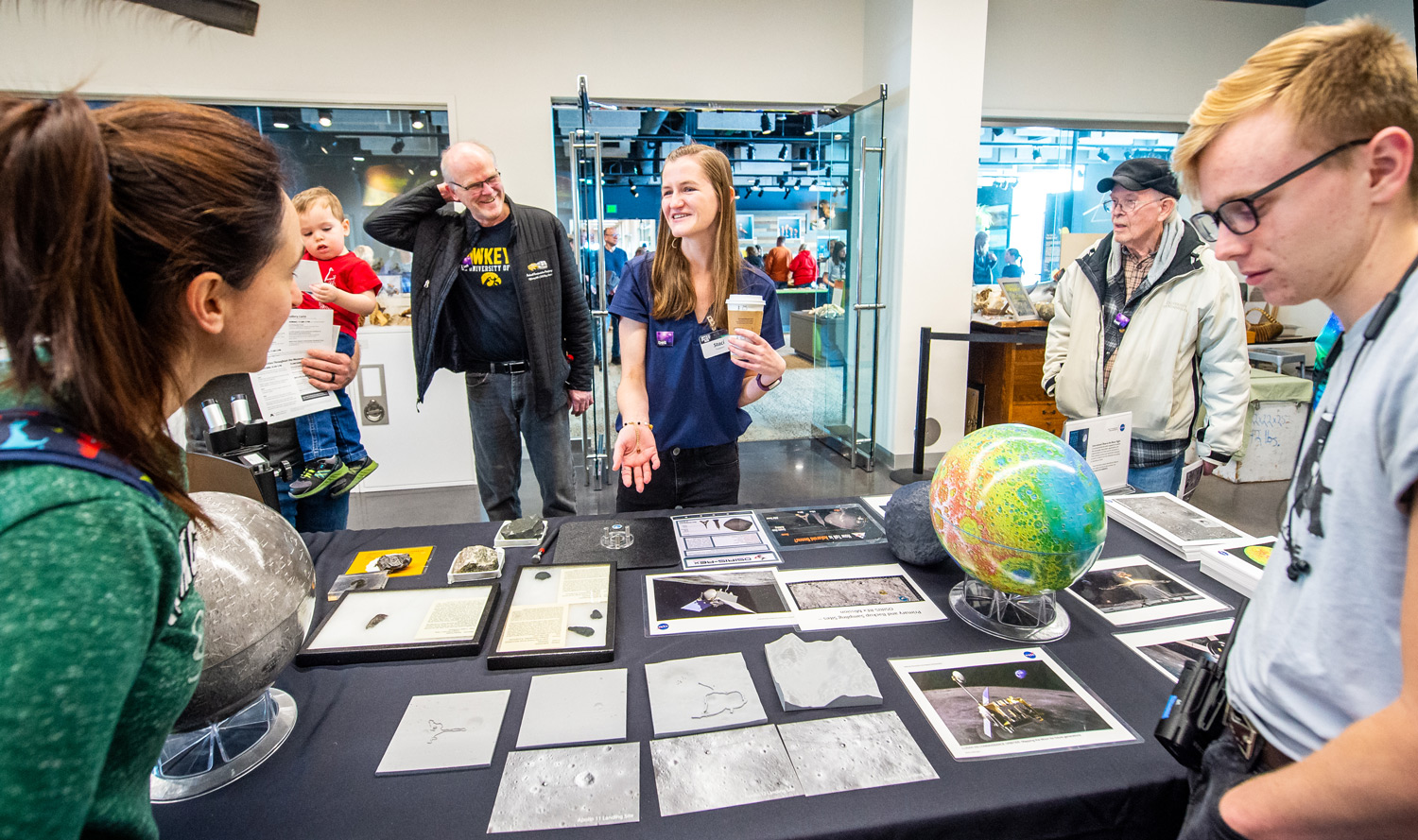 Visitors learn about moon landing sites
